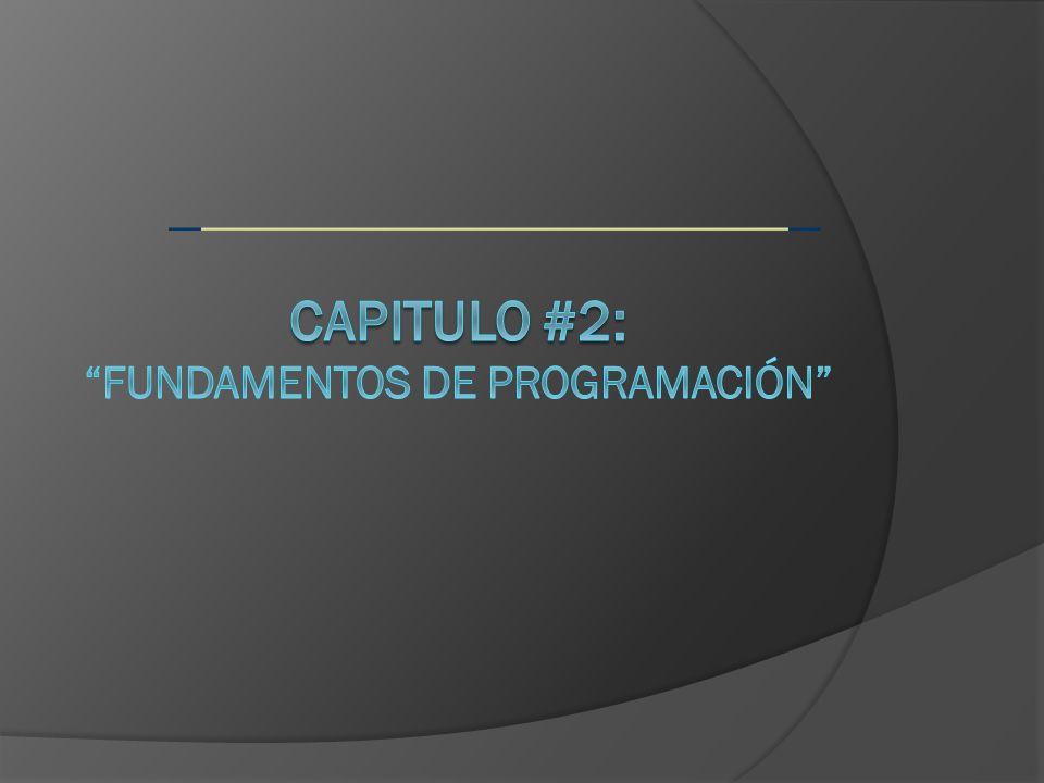CAPITULO #2: Fundamentos de programación