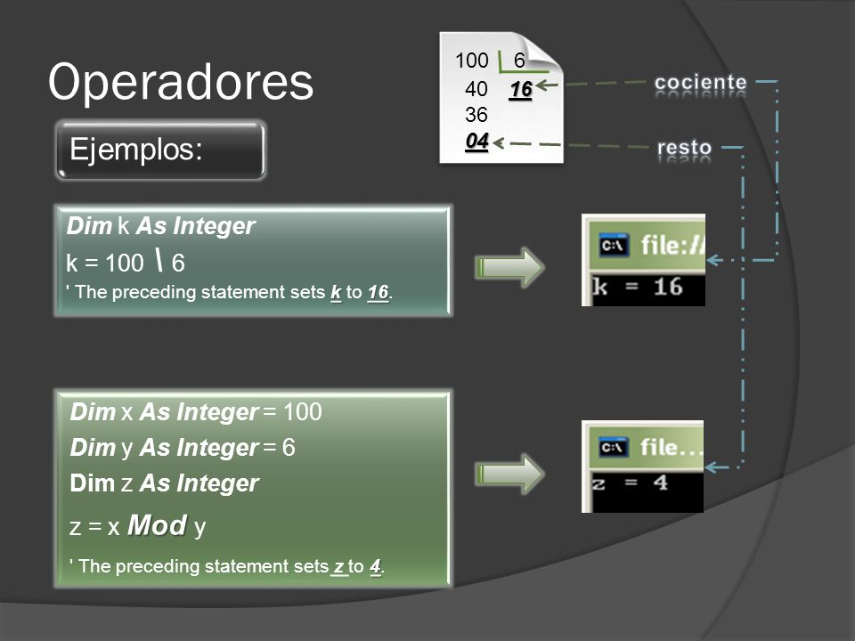 Operadores Ejemplos: Dim k As Integer k = 100 \ 6