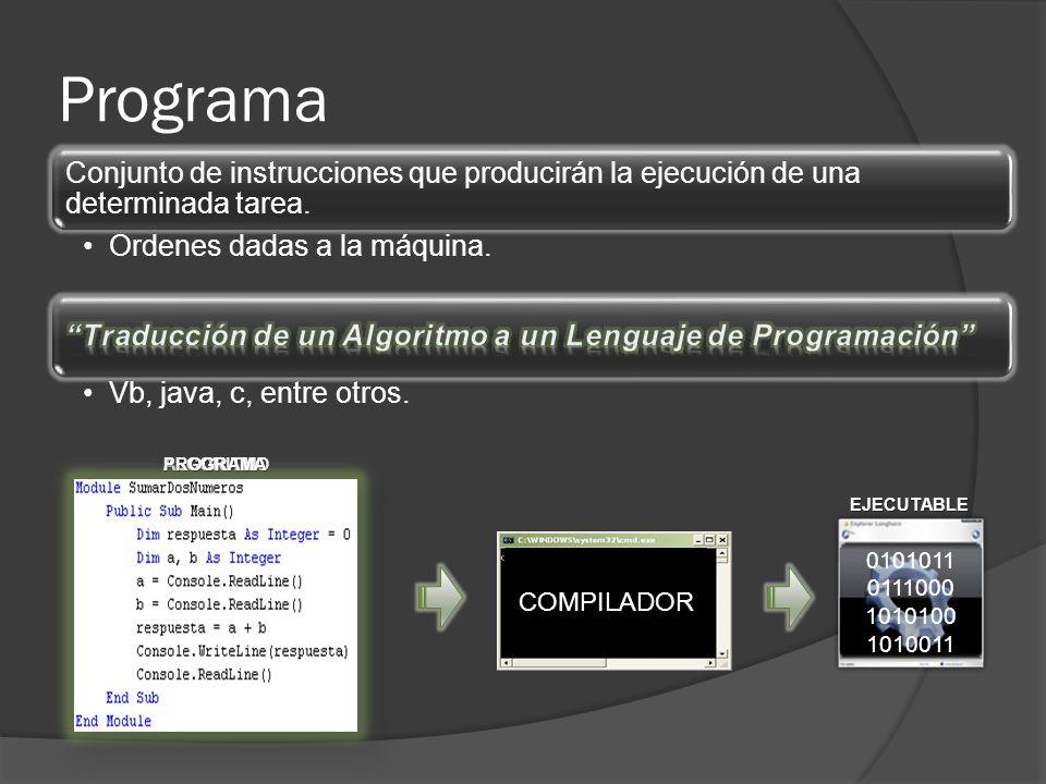 Programa Conjunto de instrucciones que producirán la ejecución de una determinada tarea. Ordenes dadas a la máquina.
