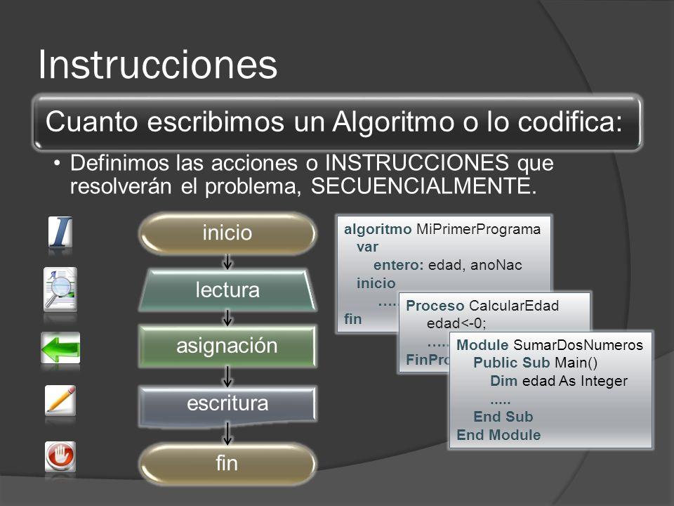 Instrucciones Cuanto escribimos un Algoritmo o lo codifica: