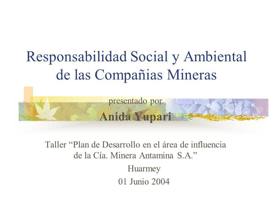Responsabilidad Social y Ambiental de las Compañias Mineras