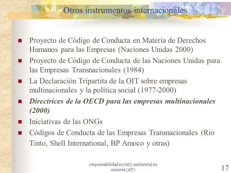 Otros instrumentos internacionales