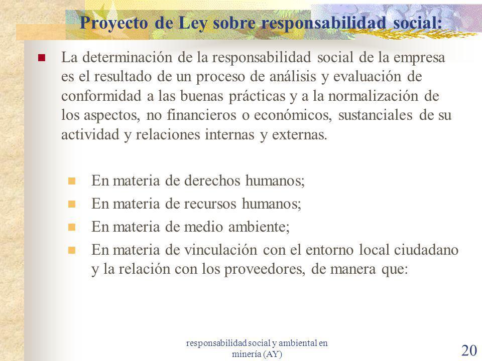 Proyecto de Ley sobre responsabilidad social: