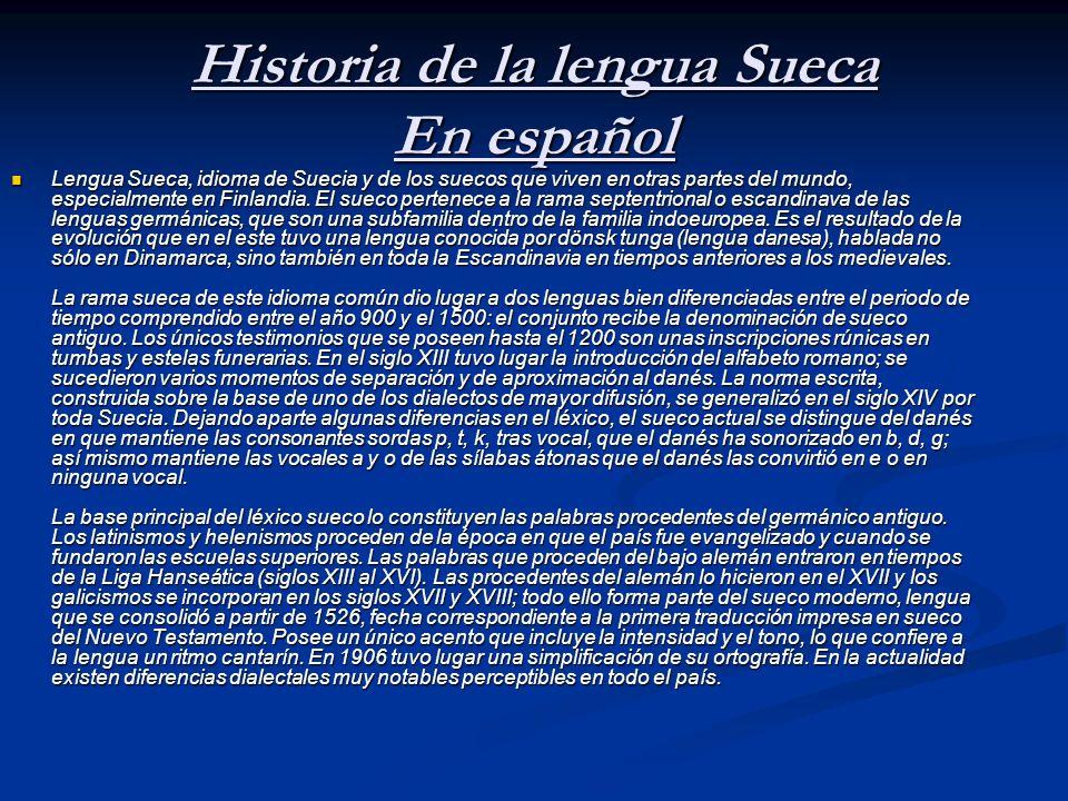 Historia de la lengua Sueca En español