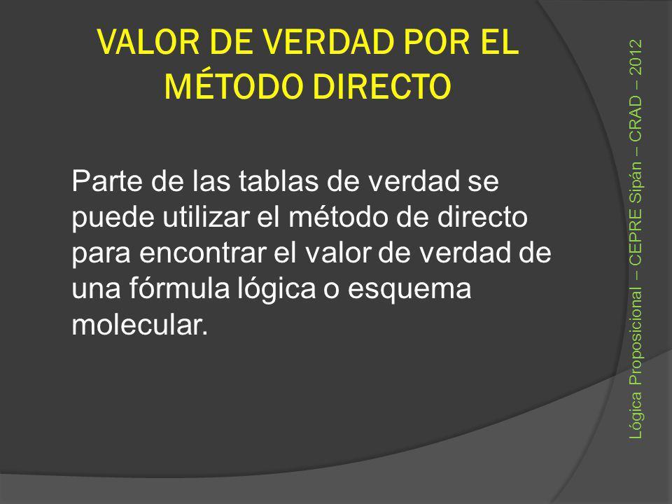VALOR DE VERDAD POR EL MÉTODO DIRECTO