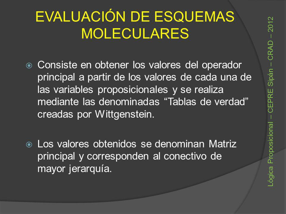 EVALUACIÓN DE ESQUEMAS MOLECULARES