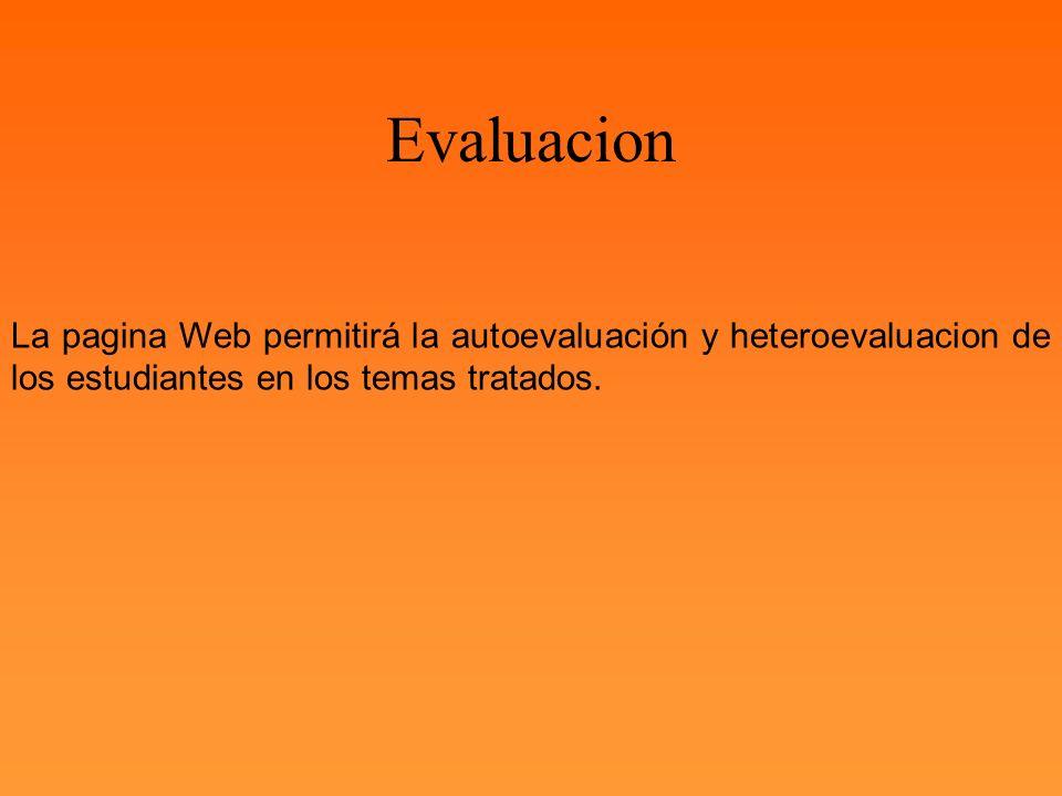 Evaluacion La pagina Web permitirá la autoevaluación y heteroevaluacion de los estudiantes en los temas tratados.