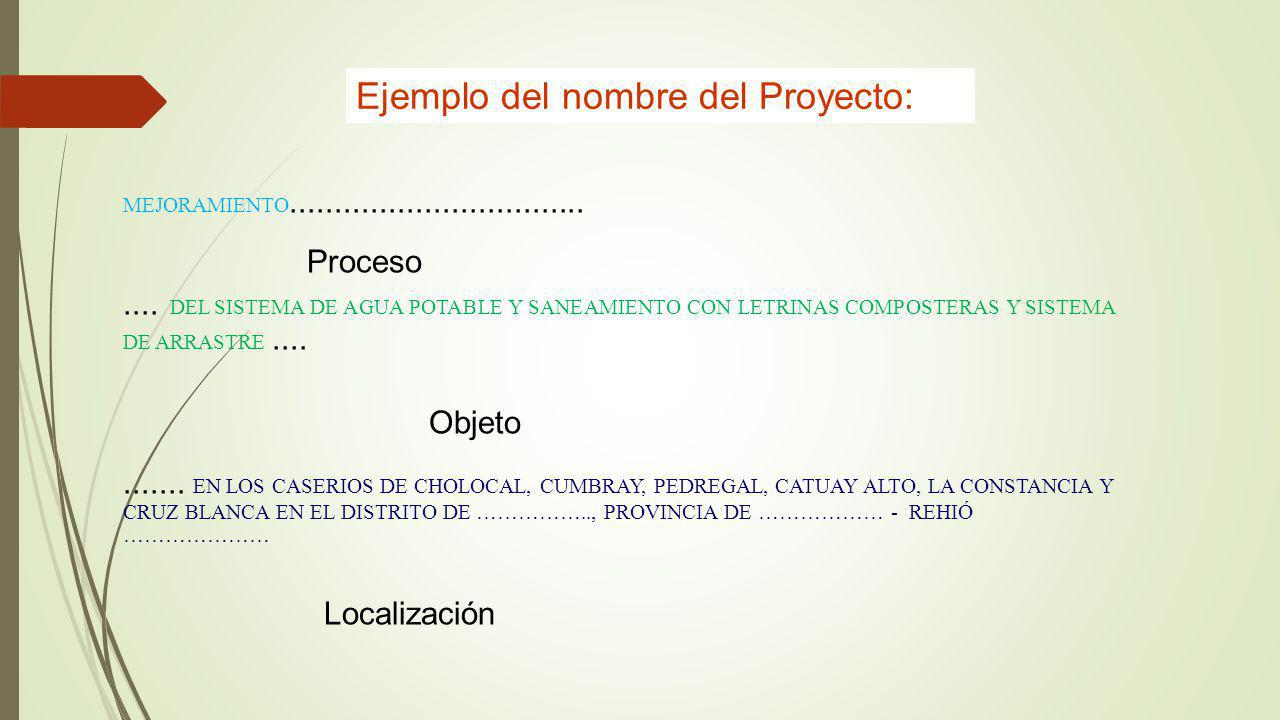 Ejemplo del nombre del Proyecto: