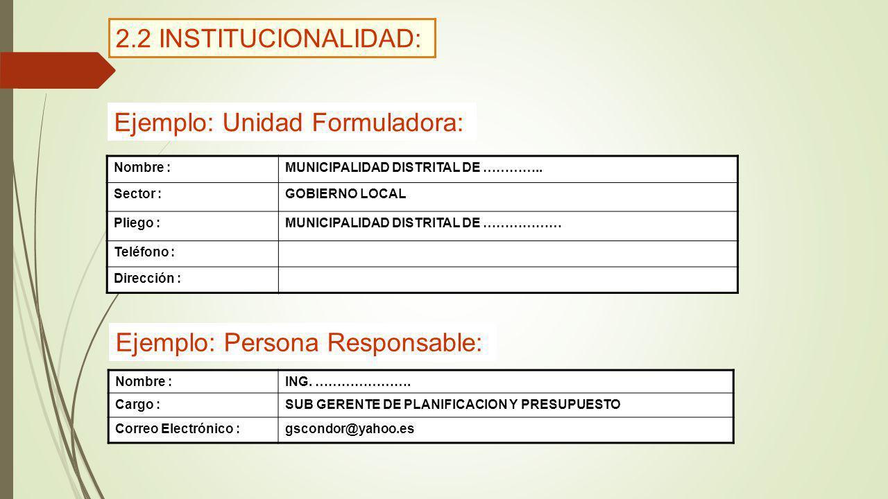 Ejemplo: Unidad Formuladora: