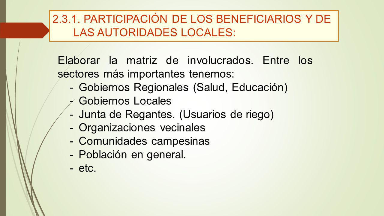 2.3.1. PARTICIPACIÓN DE LOS BENEFICIARIOS Y DE LAS AUTORIDADES LOCALES: