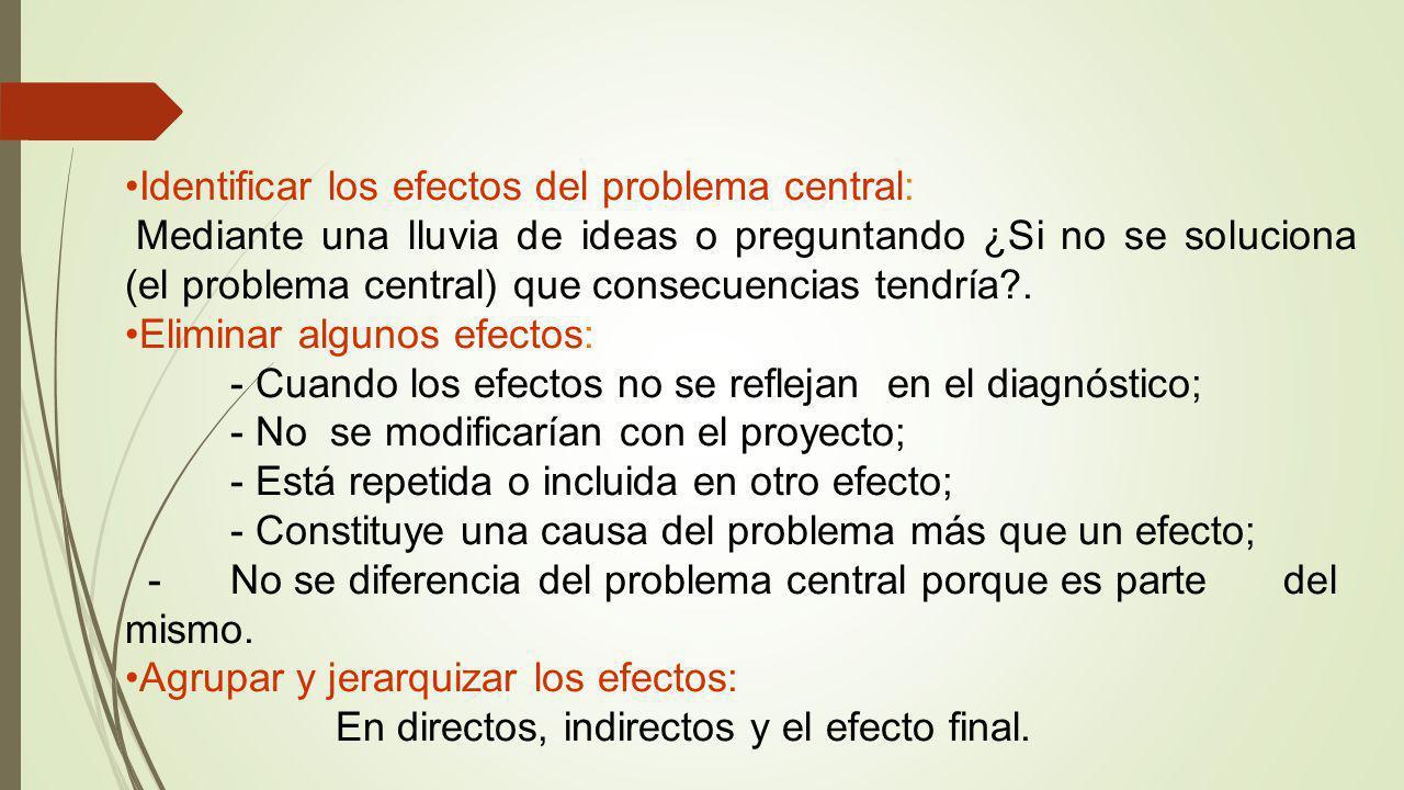 Identificar los efectos del problema central:
