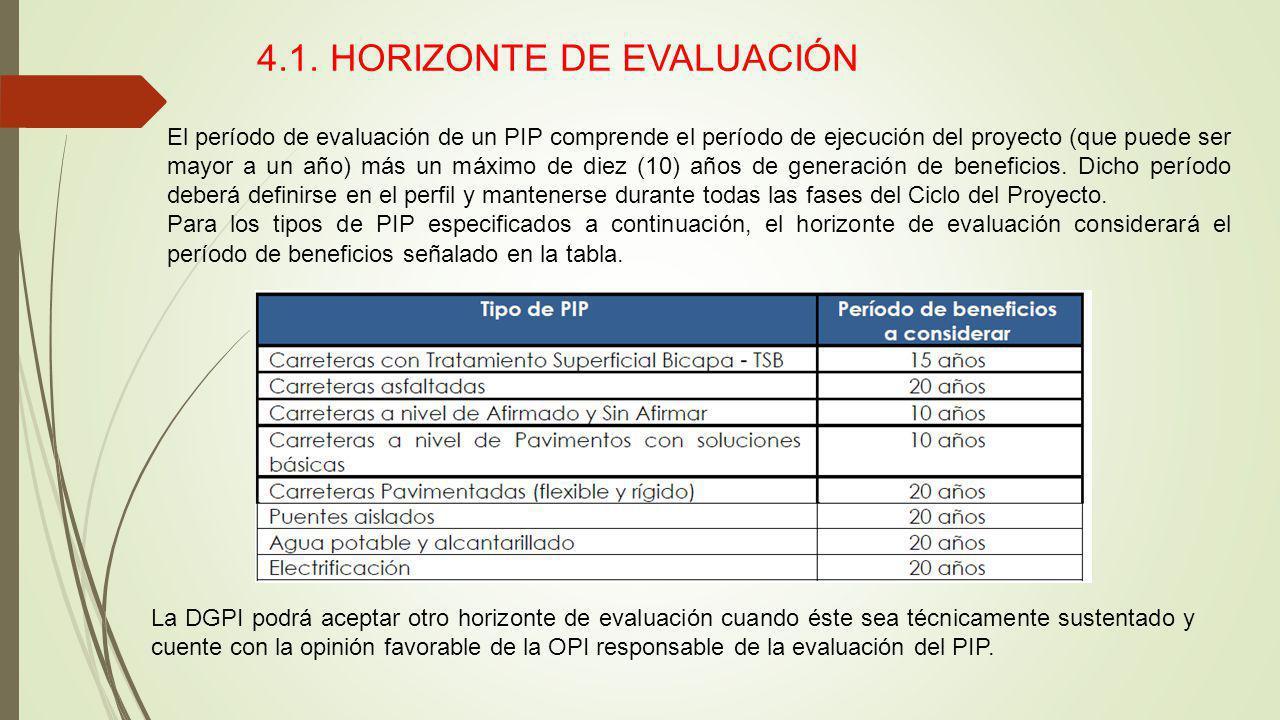 4.1. HORIZONTE DE EVALUACIÓN