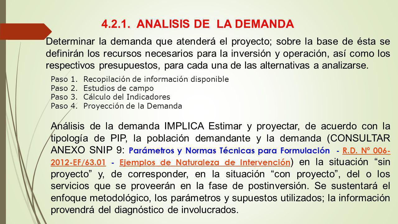 4.2.1. ANALISIS DE LA DEMANDA