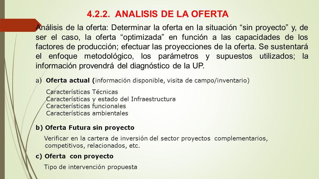 4.2.2. ANALISIS DE LA OFERTA