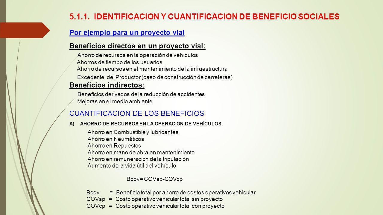 5.1.1. IDENTIFICACION Y CUANTIFICACION DE BENEFICIO SOCIALES