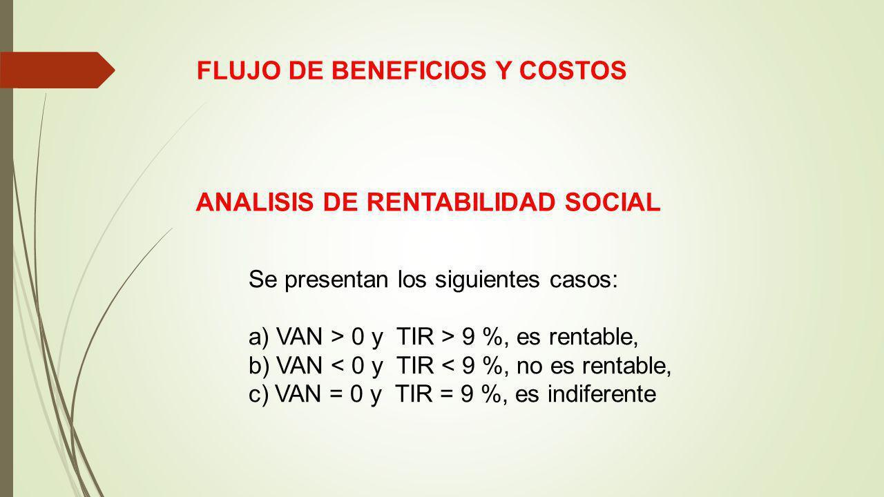 FLUJO DE BENEFICIOS Y COSTOS