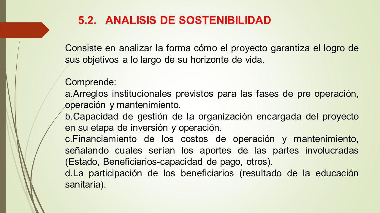 5.2. ANALISIS DE SOSTENIBILIDAD