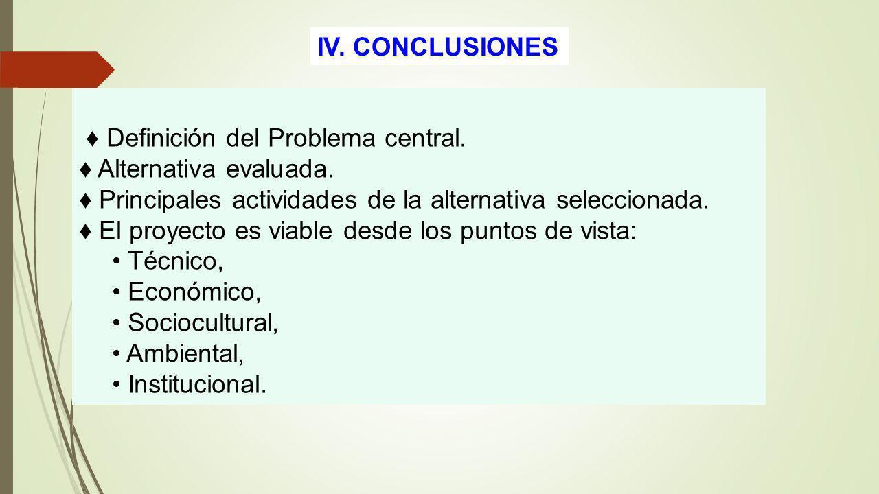 IV. CONCLUSIONES ♦ Definición del Problema central. ♦ Alternativa evaluada. ♦ Principales actividades de la alternativa seleccionada.