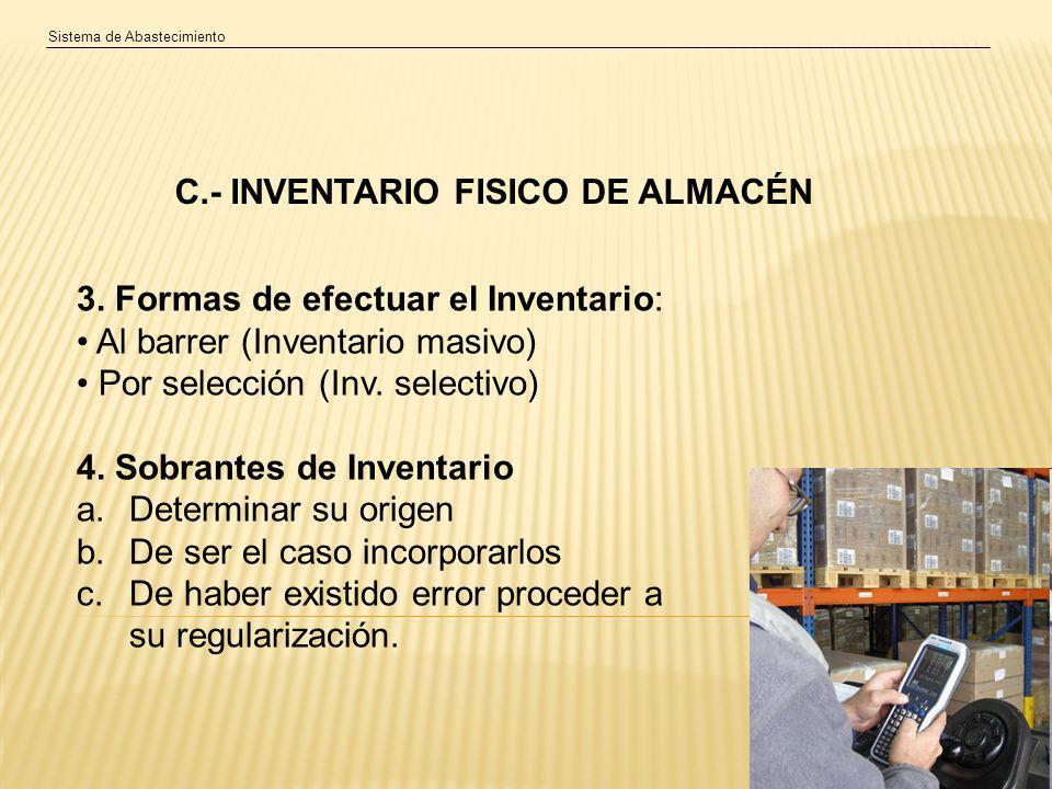 C.- INVENTARIO FISICO DE ALMACÉN