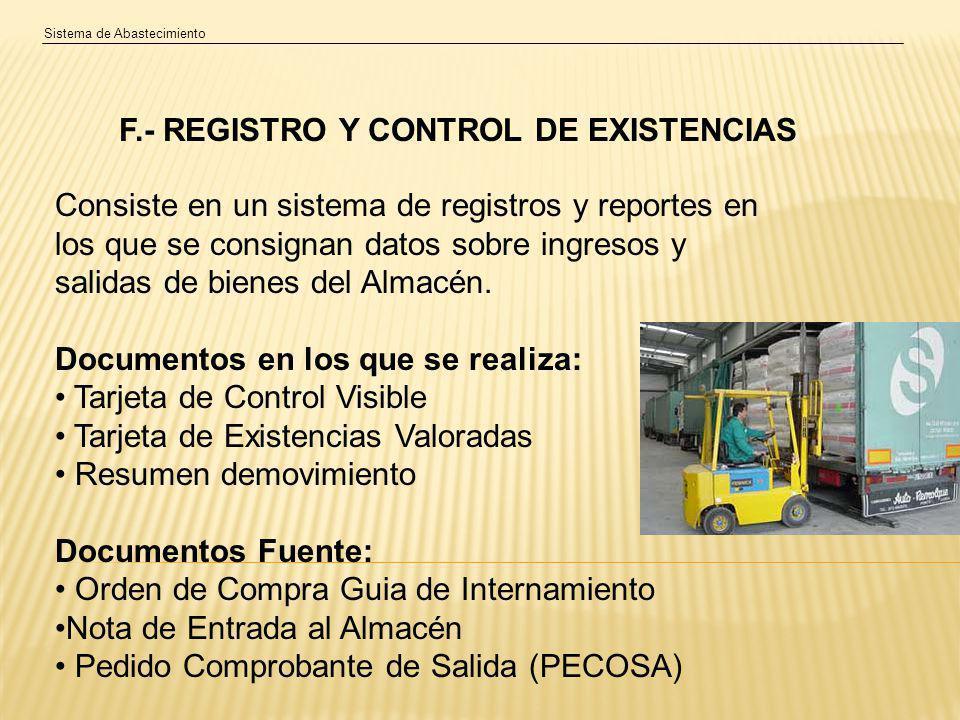 F.- REGISTRO Y CONTROL DE EXISTENCIAS
