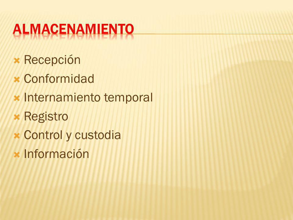 ALMACENAMIENTO Recepción Conformidad Internamiento temporal Registro