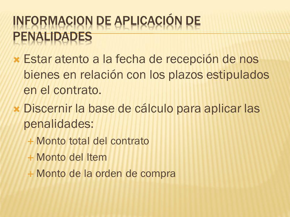 INFORMACION DE APLICACIÓN DE PENALIDADES
