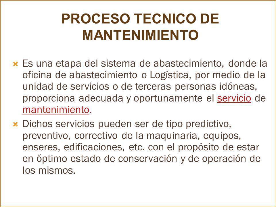 PROCESO TECNICO DE MANTENIMIENTO