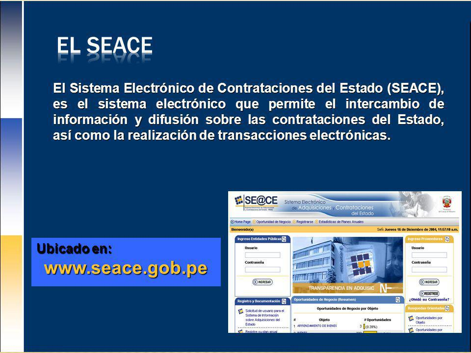 El SEACE www.seace.gob.pe