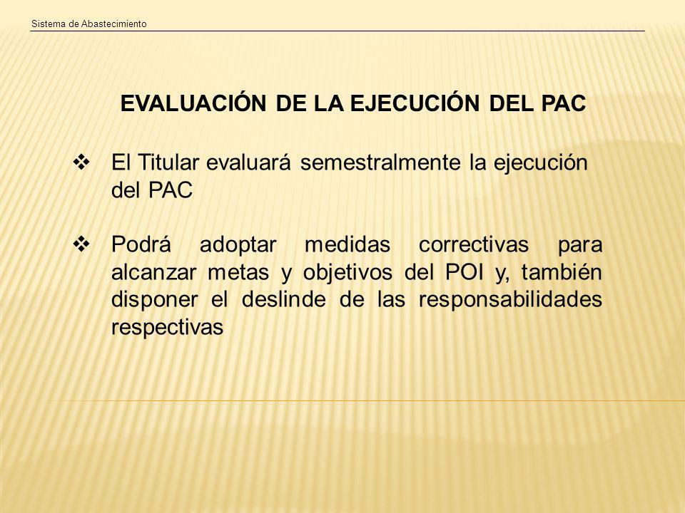 EVALUACIÓN DE LA EJECUCIÓN DEL PAC