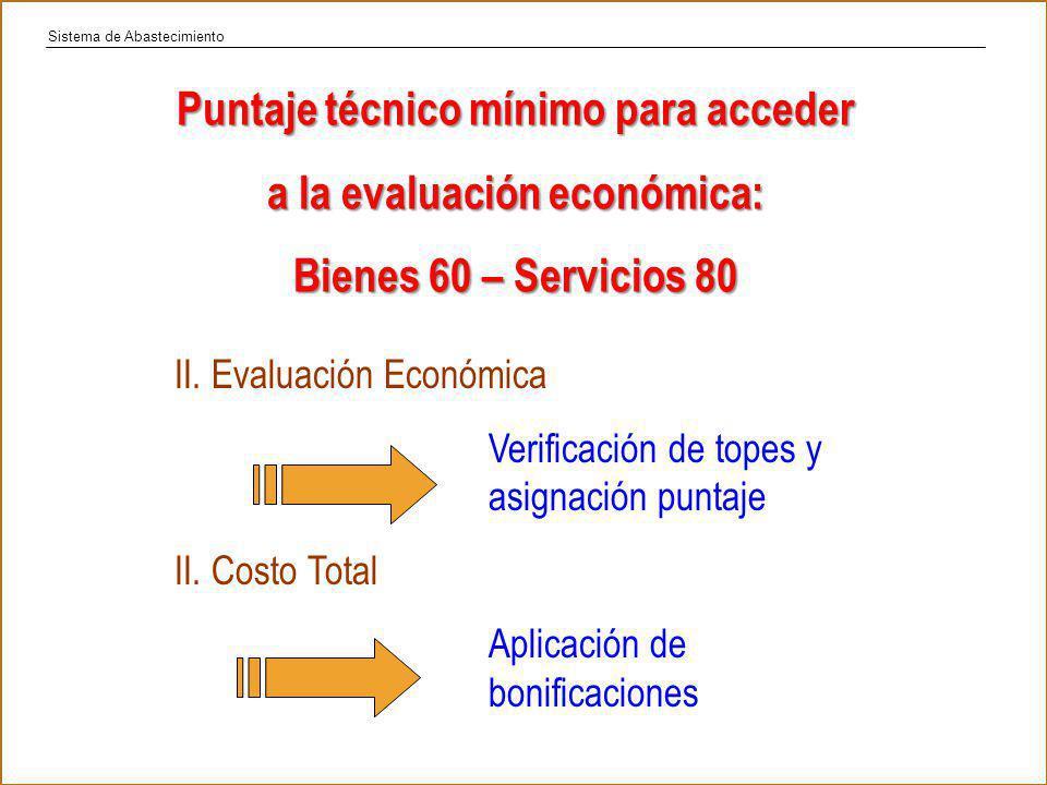 Puntaje técnico mínimo para acceder a la evaluación económica: