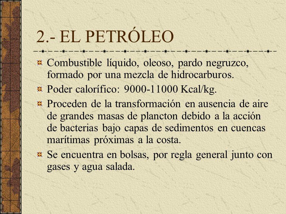 2.- EL PETRÓLEO Combustible líquido, oleoso, pardo negruzco, formado por una mezcla de hidrocarburos.