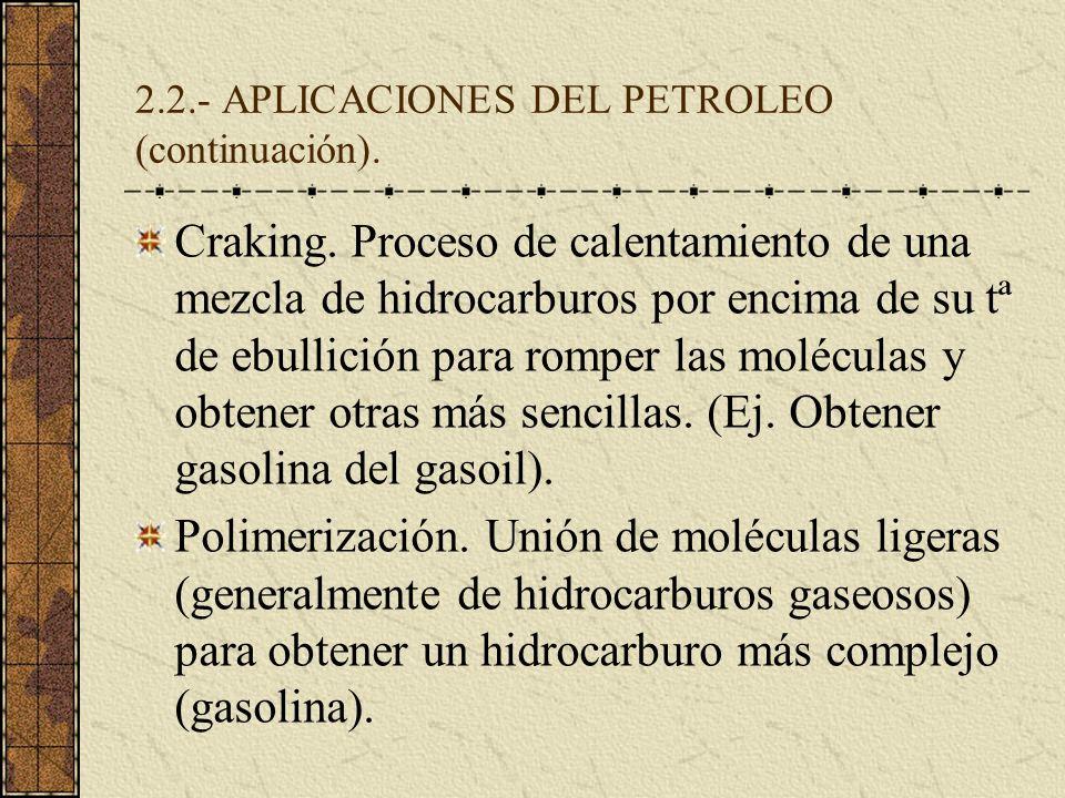 2.2.- APLICACIONES DEL PETROLEO (continuación).