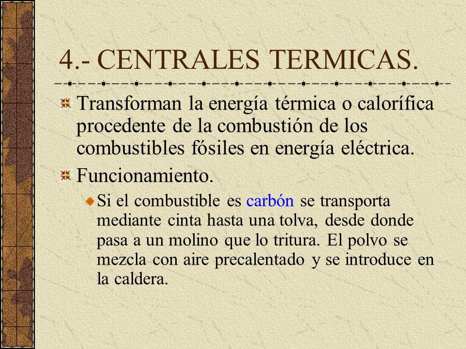 4.- CENTRALES TERMICAS.Transforman la energía térmica o calorífica procedente de la combustión de los combustibles fósiles en energía eléctrica.