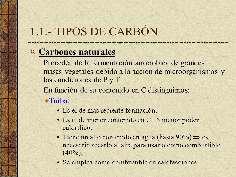1.1.- TIPOS DE CARBÓN Carbones naturales