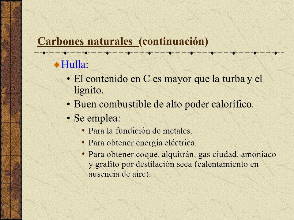 Carbones naturales (continuación)