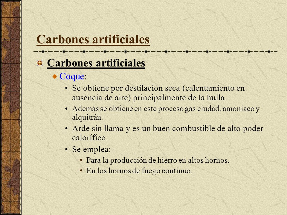 Carbones artificiales
