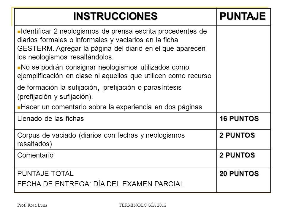 INSTRUCCIONES PUNTAJE
