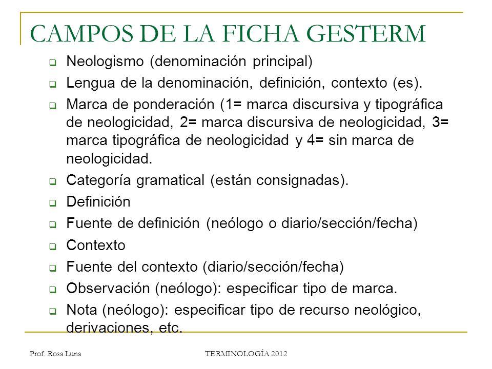 CAMPOS DE LA FICHA GESTERM