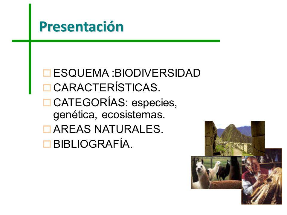 Presentación ESQUEMA :BIODIVERSIDAD CARACTERÍSTICAS.