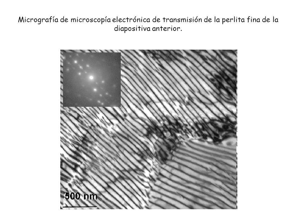 Micrografía de microscopía electrónica de transmisión de la perlita fina de la diapositiva anterior.