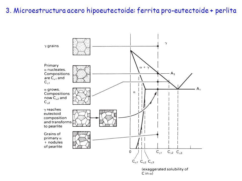 3. Microestructura acero hipoeutectoide: ferrita pro-eutectoide + perlita