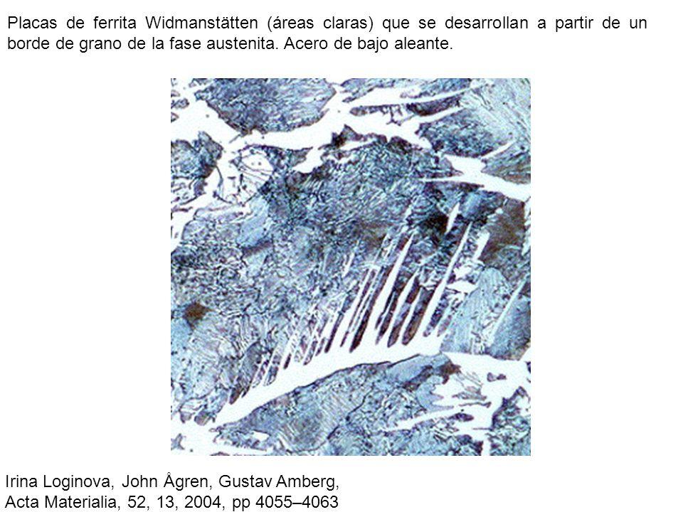 Placas de ferrita Widmanstätten (áreas claras) que se desarrollan a partir de un borde de grano de la fase austenita. Acero de bajo aleante.