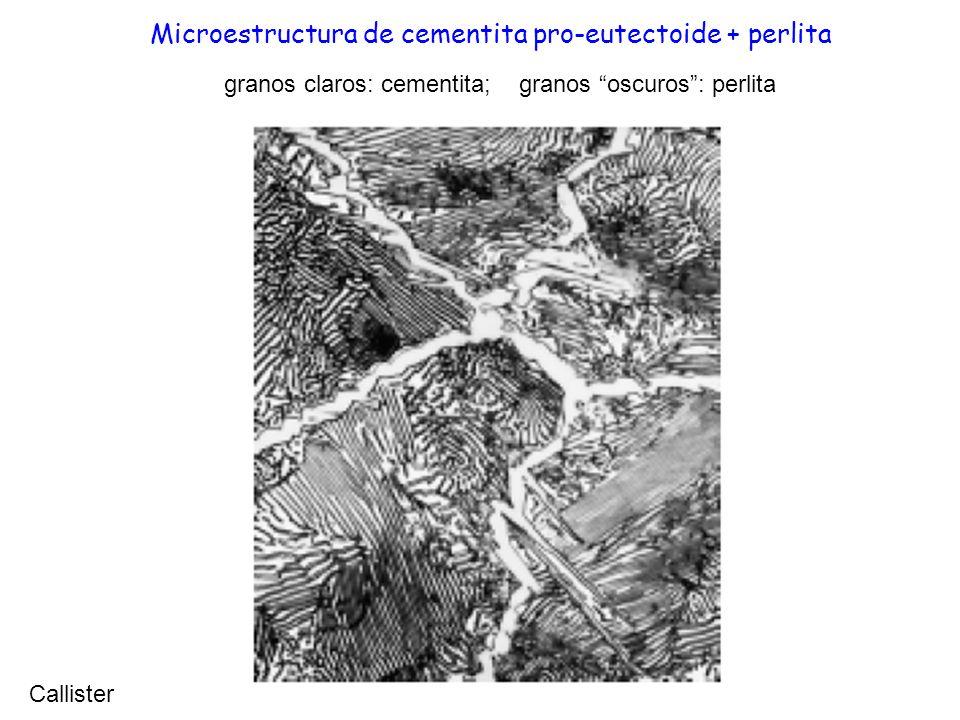 Microestructura de cementita pro-eutectoide + perlita