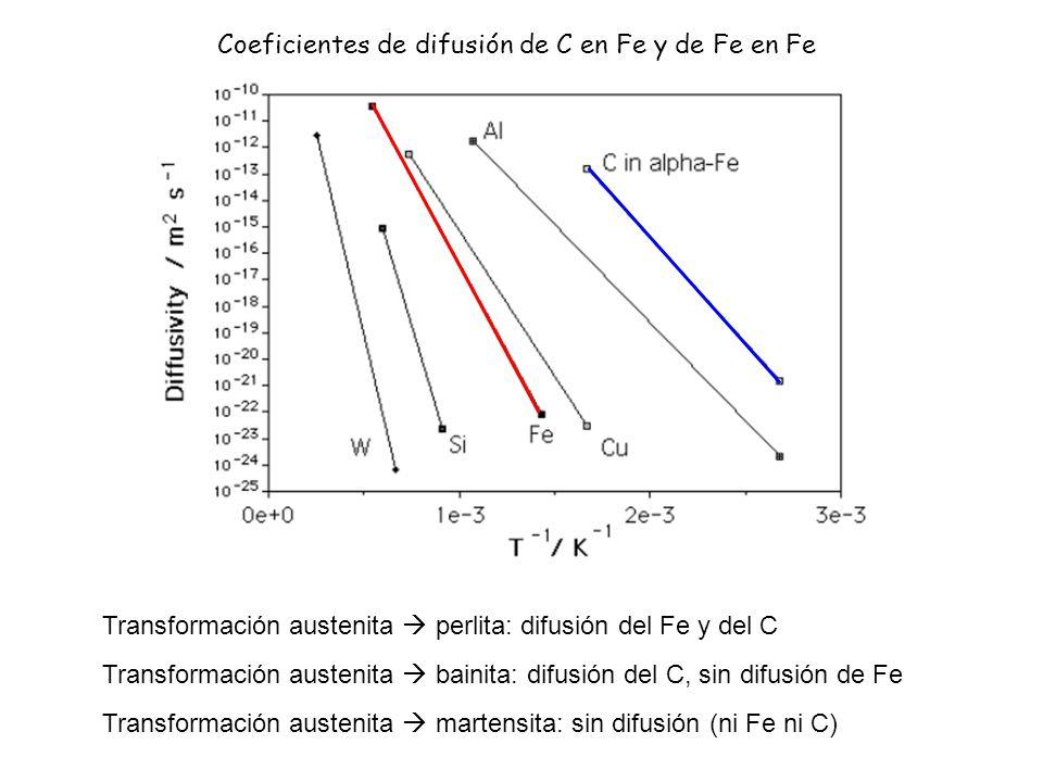 Coeficientes de difusión de C en Fe y de Fe en Fe