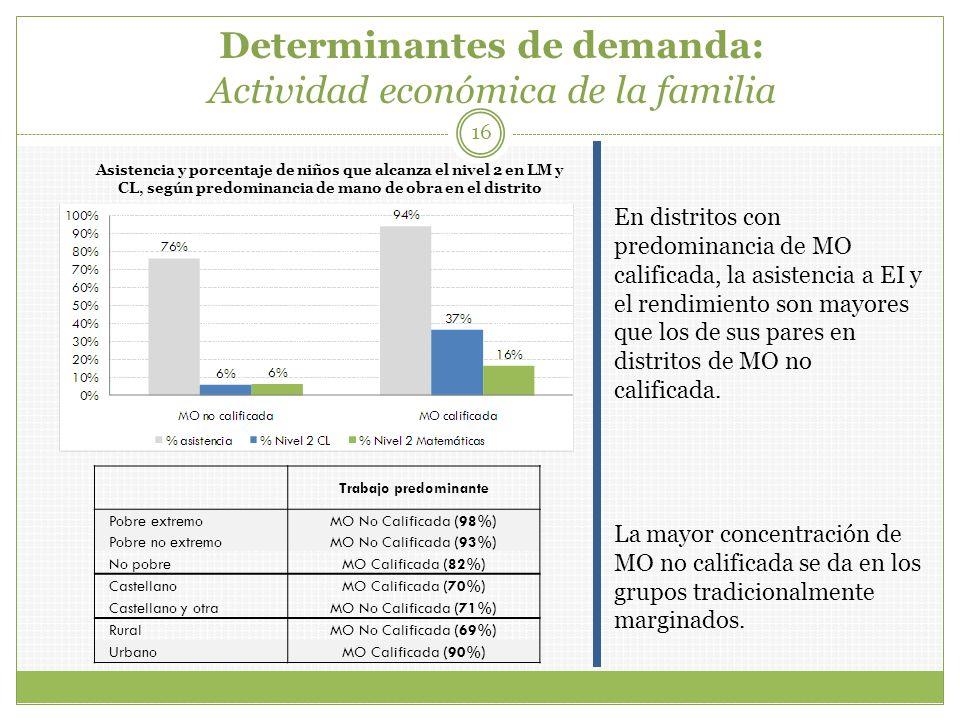 Determinantes de demanda: Actividad económica de la familia
