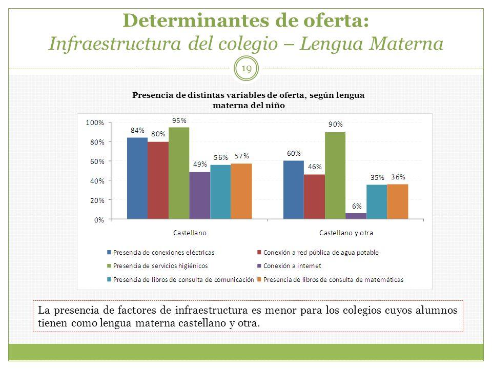 Determinantes de oferta: Infraestructura del colegio – Lengua Materna