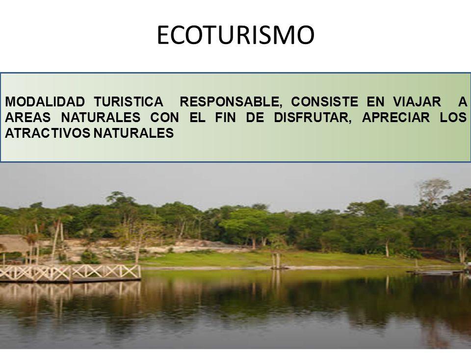 ECOTURISMO MODALIDAD TURISTICA RESPONSABLE, CONSISTE EN VIAJAR A AREAS NATURALES CON EL FIN DE DISFRUTAR, APRECIAR LOS ATRACTIVOS NATURALES.