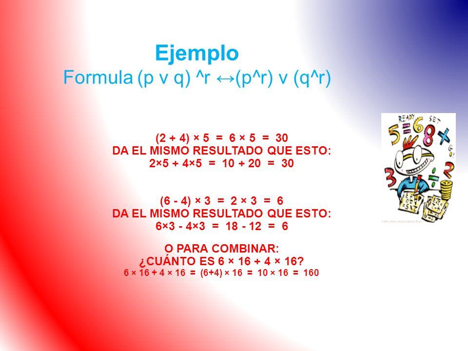 Ejemplo Formula (p v q) ^r ↔(p^r) v (q^r)