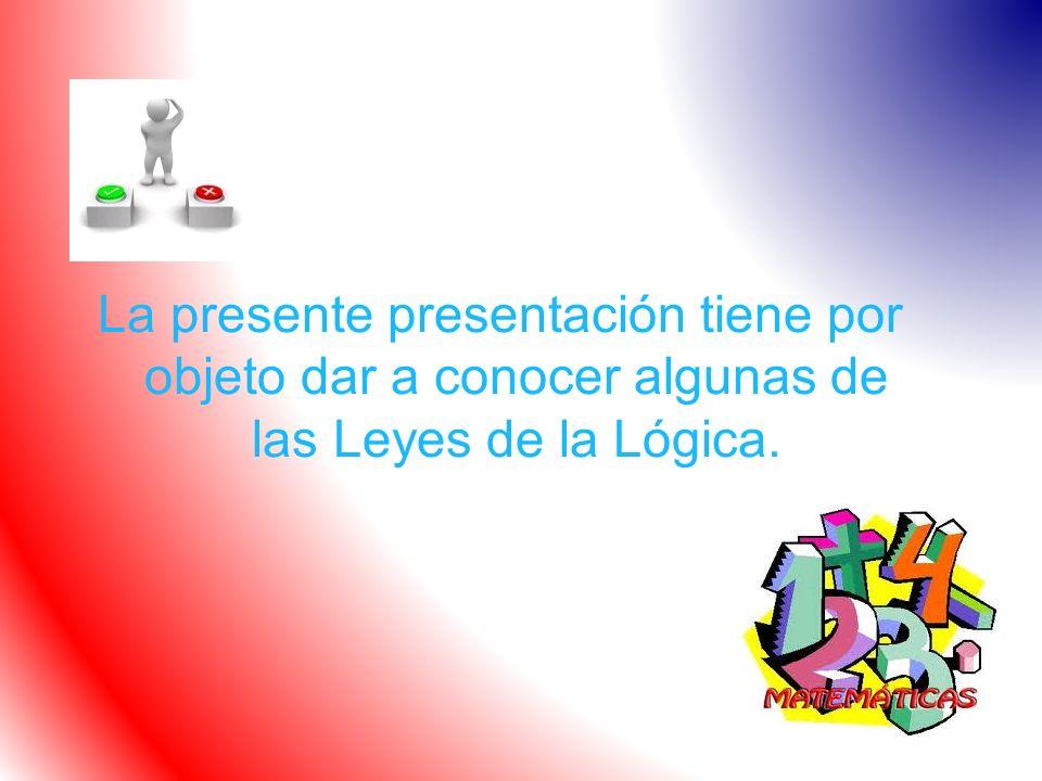 La presente presentación tiene por objeto dar a conocer algunas de las Leyes de la Lógica.