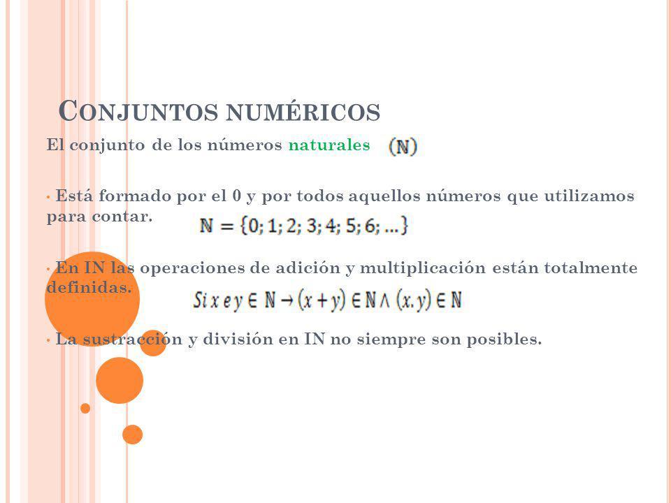 Conjuntos numéricos El conjunto de los números naturales